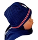 "<img src=""https://p11.secure.hostingprod.com/@grammies-attic.com/ssl/images/blue-sold-1.gif""> NEW Navy Hat with Attached Scarf with Appliqued Penguin"