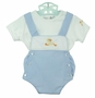 "<img src=""http://site.grammies-attic.com/images/blue-sold-1.gif""> NEW Sarah Louise Blue Checked Sunsuit with Duck Applique"