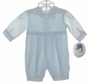 NEW Sarah Louise Pale Blue Long Sleeved Baby Romper with White Embroidery