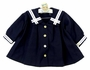 Vintage-Navy Blue Sailor Dress with White Trim
