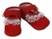 NEW Red Velveteen Baby Shoes with Lace Trim and Pearl Buttons
