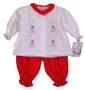 "<img src=""https://p11.secure.hostingprod.com/@grammies-attic.com/ssl/images/blue-sold-1.gif""> NEW Will'Beth Red and White Cotton Pantaloon Set with Snowman Embroidery"