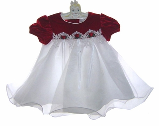 5427a785249b NEW Rare Editions Red Velvet Baby Dress with White Organdy Skirt and Venice  Lace Trim