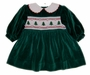 "<img src=""https://p11.secure.hostingprod.com/@grammies-attic.com/ssl/images/blue-sold-1.gif""> NEW Polly Flinders Green Velvet Smocked Baby Dress with Embroidered Christmas Trees"