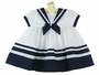 NEW Sarah Louise White Sailor Dress with Navy Collar