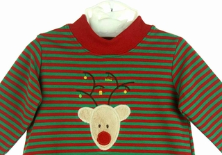 34e74b0395 NEW Bailey Boys Red and Green Striped Pajamas with Reindeer Applique
