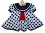 "<img src=""https://p11.secure.hostingprod.com/@grammies-attic.com/ssl/images/blue-sold-1.gif""> NEW Shirley Temple Style White Sailor Dress with Navy Dots and Matching Beret"