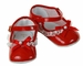 """<img src=""""https://p11.secure.hostingprod.com/@grammies-attic.com/ssl/images/blue-sold-1.gif""""> NEW Red Patent Leather Baby Shoes with Lace Trim and Red Bows"""