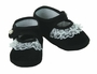 "<img src=""https://p11.secure.hostingprod.com/@grammies-attic.com/ssl/images/blue-sold-1.gif""> NEW Black Velvet Baby Shoes with Lace Trim and Pearl Button"