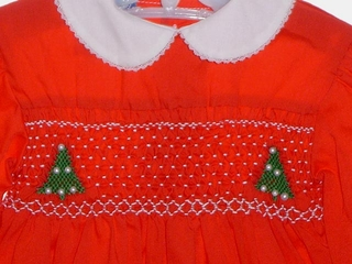f558a08890c0 Polly Flinders Red Long Sleeved Smocked Dress with Christmas Tree Embroidery