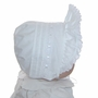 NEW White Pintucked Bonnet with Eyelet Trim and White Satin Ribbon