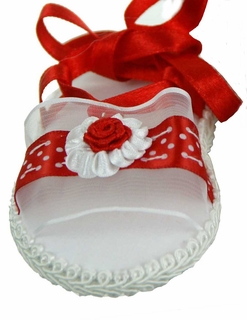 abb8a1eb39c42 NEW Will'Beth Red and White Baby Sandals with Ribbon Roses