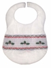 "<img src=""https://p11.secure.hostingprod.com/@grammies-attic.com/ssl/images/blue-sold-1.gif""> NEW Rosalina White Smocked Bib with Holly Embroidery"