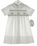 NEW Rosalina White Smocked Daygown with Lambs for Baby Boys