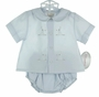 "<img src=""http://site.grammies-attic.com/images/blue-sold-1.gif""> NEW Rosalina Blue Diaper Set with Bunny Embroidery"