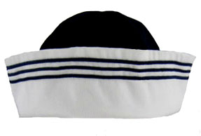 "<img src=""https://p11.secure.hostingprod.com/@grammies-attic.com/ssl/images/blue-sold-1.gif""> NEW Gordon & Company Navy Cotton Sailor Hat with White Trim"