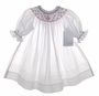 """<img src=""""https://p11.secure.hostingprod.com/@grammies-attic.com/ssl/images/blue-sold-1.gif""""> NEW Will'Beth White Bishop Smocked Dress and Matching Slip Dress with Red and Green Embroidery for Toddlers"""