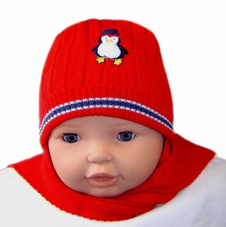 NEW Red Hat with Attached Scarf with Appliqued Penguin 792e34babad