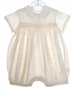 NEW Ivory Silk Smocked Romper for Baby Boys