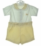 Heirloom 1930s Yellow and White Button On Shorts Set with Chick Embroidery