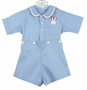 """<img src=""""https://p11.secure.hostingprod.com/@grammies-attic.com/ssl/images/blue-sold-1.gif""""> Vintage 1930s Blue Button on Shorts Set with Bunny in Pocket"""