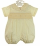 NEW Le' Za Me Butter Yellow Smocked Romper with Geometric Embroidery