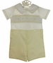 NEW Le' Za Me Butter Yellow and White Smocked Button On Shorts Set with Geometric Embroidery