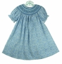 NEW Rosalina Blue Flowered Bishop Smocked Dress with Embroidered Flowers