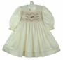 NEW Will'Beth Ivory Smocked Long Sleeved Dress with Rose Embroidered Flowers