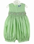 "<img src=""http://site.grammies-attic.com/images/blue-sold-1.gif""> NEW Carriage Boutiques Green Smocked Bubble with Embroidered Pastel Flowers"