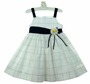 NEW C. I. Castro White and Navy Windowpane Check Sundress with Daisy Trim