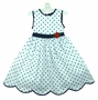 NEW C. I. Castro White and Navy Dotted Dress with Red Flower Trim