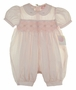 NEW Petit Ami Pale Pink Smocked Bubble with Fagoting and Embroidery