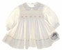 NEW Sarah Louise Ivory Twill Smocked Dress with Pearls, Satin Ribbon Trim and Scalloped Collar