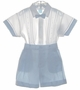 "<img src=""https://p11.secure.hostingprod.com/@grammies-attic.com/ssl/images/blue-sold-1.gif""> NEW Will'Beth Blue and White Cotton Button on Shorts Set with Removable Bowtie and Matching Hat"