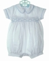 NEW Will'Beth White Romper with Blue Smocking, Pintucks, Satin Piping, and Seed Pearls
