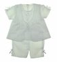 NEW Will'Beth White Voile Diaper Set with Matching Booties and Bonnet