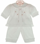 "<img src=""http://site.grammies-attic.com/images/blue-sold-1.gif"">  NEW Will'Beth White Long-Sleeved Diaper Set and Matching Booties with Pink Embroidery"