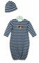 NEW Bailey Boys Blue and White Striped Baby Gown with Sports Applique and Matching Hat