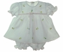 NEW Will'Beth Delicate White Voile Diaper Set with Embroidered Rosebuds with Matching Booties and Bonnet