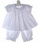 NEW Fantaisie Kids White Cotton Smocked Pantaloon Set with Matching Bonnet