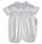 NEW Sophie Dess White Romper with Blue Smocking