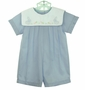 "<img src=""https://p11.secure.hostingprod.com/@grammies-attic.com/ssl/images/blue-sold-1.gif""> NEW Petit Ami Blue Romper with Bunny Embroidered White Portrait Collar"