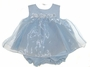 NEW Samara Blue Organza Baby Dress with Blue Ribbon Roses