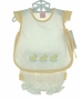 "<img src=""http://site.grammies-attic.com/images/blue-sold-1.gif""> NEW Willbeth Yellow and White Diaper Set with Duck Embroidery"