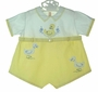 """<img src=""""https://p11.secure.hostingprod.com/@grammies-attic.com/ssl/images/blue-sold-1.gif""""> Heirloom 1930s Yellow and White Romper with Appliqued Ducks"""