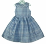 NEW Polly Flinders Blue Plaid Sleeveless Silk Dress with Lace Trimmed Collar
