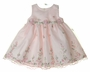 NEW Cinderella Pink Organdy Dress with Pink and Green Embroidered Flowers