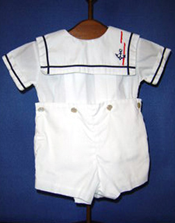 "<img src=""https://p11.secure.hostingprod.com/@grammies-attic.com/ssl/images/blue-sold-1.gif""> Boy's C. I. Castro White Sailor Button On Shorts Set with Matching Hat"