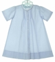 NEW Hand Embroidered Blue Daygown with Pintucks and Lace